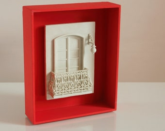 Living room decor, gifts for architects, tiny window, bookshelf sculpture, contemporary decor, red shadow box, deep picture frame. MARIA.