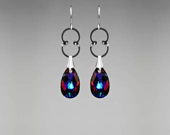 Beautiful Industrial Earrings with Volcano Swarovski Crystal Teardrops, Statement Jewelry, Bridal Earrings Ultraviolet Light II v11