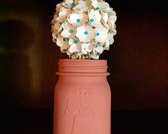 Teal flower ball etsy rustic teal cream and salmon hydrangea pomander ball paper flower bouquet mightylinksfo Choice Image