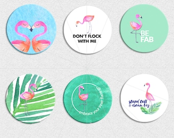 Fab Flamingos | 1.313 inch circles/buttons digital Download
