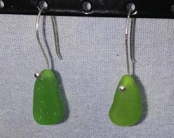 Green Sea Glass Drop Earrings with Sterling Earwire