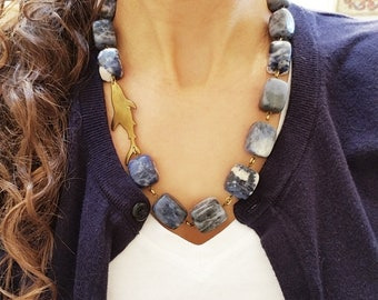 Blue Statement Necklace, Shark Jewelry, Blue Necklace, Shark Necklace, Animal Necklace, Ocean Jewelry, Beach Necklace, Beach Jewelry, Sharks