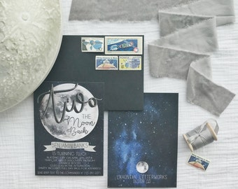 TWO the moon birthday invitation, Over the Moon birthday invitation, Moon Birthday Invitation Space birthday invitation, Second Birthday