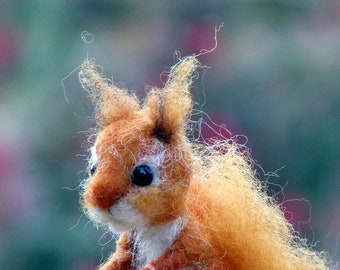 Needle felted little red squirrel ornament, decoration