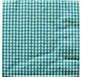 Set of 3 turquoise HOD092 gingham paper napkins