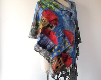 Nuno felted scarf  House street town city urban Grey Blue Wool Women shawl scarf women felted scarf one of a kind Galafilc outdoors gift