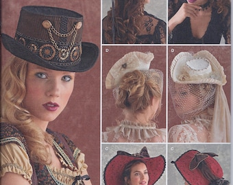 Simplicity 8361 Misses Victorian Steampunk Hats Cos Play UNCUT Sewing Pattern