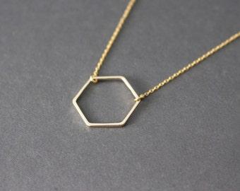 Hexagon necklace -  Hexagon necklace - Gemetric necklace - gold