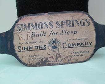 Tin Advertising Sign for Simmons Springs