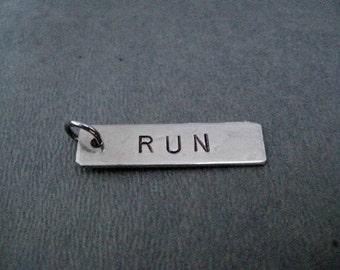 ONE (1) RUN Hand Hammered Nickel Silver Pendant - Hand Hammered Nickel Silver Add On Pendant - Run Charm - Run Bracelet Charm - Run Pendant