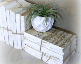 White Decorative Books, Vintage Books, Home Decoration, Old Book Decor,  Painted Book