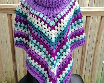 Boho Womens Cowl Poncho Accessoies Purple Teal Blue Cowl Shawl Wrap, Cowl Poncho, Poncho, Brown, Teal, Taupe, Poncho, Crochet Accessory