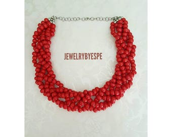 Statement Necklace, Red Necklace, Beach Wedding Jewelry, Multi Strands, Chunky Bib, summer party, Rustic, boho, victorian, Beaded