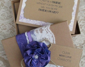 Bridesmaid Invitation - Will You Be My Bridesmaid Boxed Card With Personalised Tag-Rustic Card Box - Vintage Invite