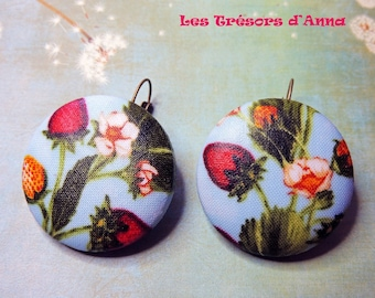 Earrings fabric wild strawberries skies 38mm