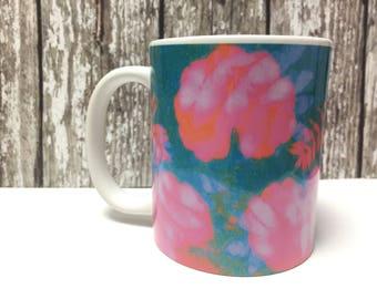 Mug with original gelli print design