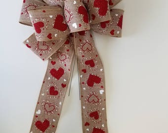 """Set of 2 Large 10"""" Hand Made Wired Red And White Valentine's Day Bows HARTLEY  Natural"""