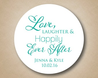 Love Laughter Happily Ever After Wedding Favor Stickers Personalized Bridal Shower Favor Labels Custom Cake Box Stickers Round Favor Labels