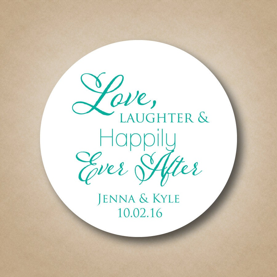 Love Laughter Happily Ever After Wedding Favor Stickers