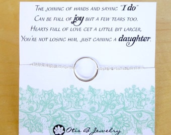 Wedding gift for mother in law, Silver eternity necklace, Mothers day card, Mother of the groom gift, karma, Mother of the Bride gift,otis b