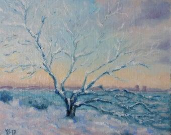 Spring Sea and Snow Tree near Finland gulf Tallinn Baltic - Original Estonian Landscape Oil Painting - Estonia Fine Art Russian Artist
