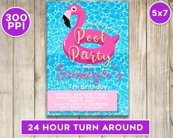 Pool Party Invitation 5x7