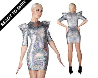 Robe de signature, holographique, serré Party Dress, robe de Cocktail, les filles en argent vêtements robe, futuriste, robe Sexy, par LENA QUIST