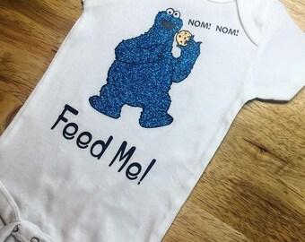 Feed Me! Sesame Street Cookie Monster Inspired Onesie or Tee