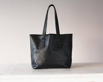 Black pebbled leather tote bag, raw edge shopper simple purse unlined bag shoulder large market everyday tote bag - Calisto bag