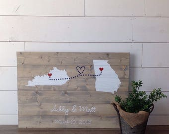 wood guest book, guest book, wedding guestbook, custom guest book, guestbook, wood sign, Guest Book With states, hearts, names and date,