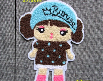 x 1-badge-patch applique embroidered little girl sewing 13 cm 17.1 @93 x
