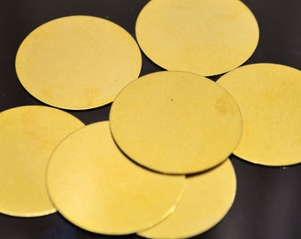 50 Pcs Raw Brass 25 mm Stamping Disc   ( No Holes )  Thickness Of  0.45 mm - 25 Gauge