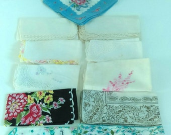 Vintage Wedding Handkerchief Set -Lovely Vintage Handkerchiefs, Colorful Pattern, Embroidered Handkerchiefs, Lot of 11,Wedding Handkerchiefs