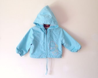 Vintage Sky Blue Air Balloon Embroidered Hooded Jacket (Size 18 Months)