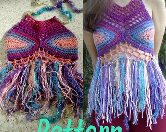 Pattern: Lacy high necked fringed halter top
