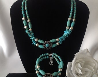 "Double Dutch: Two Strand 17"" Magenesite and Jade Necklace and 7-9"" Bangle Bracelet Set"