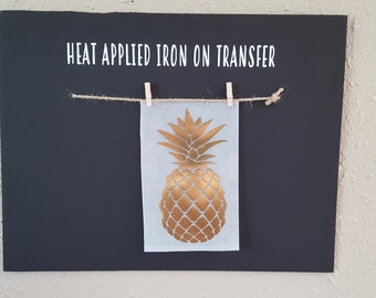 """Clearance (HT-192) 8"""" high x 4"""" wide Pineapple Gold Foil Vinyl Heat Applied T-Shirt Transfer Decal Ready to Ship"""