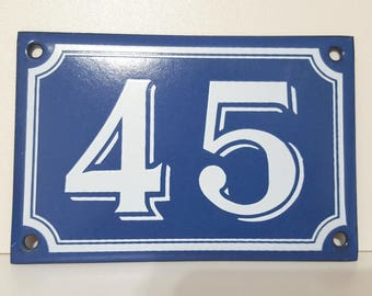 Vintage French enamel HOUSE NUMBER SIGN 45 Blue and white