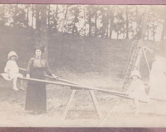 Antique Photo, Girls on the SeeSaw with Mothers Looking On, Vernacular, Teeter Totter, Playground, Slide, Shirtwaist, Bonnet, Playing, Cute