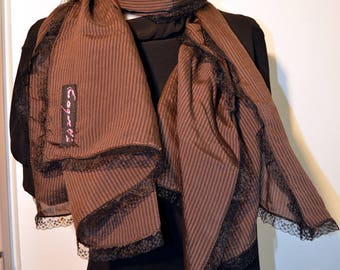 brown scarf with lace