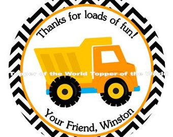 12 Boy Personalized Construction Dump Truck Baby Shower or Birthday Party Favor Thank You Tags Or Stickers You Choose Thanks
