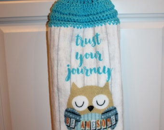 Crochet top double kitchen towel Trust your Journey