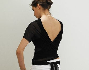 wrap black shrug, short sleeves cardigan, jersey cover up, black mesh and jersey