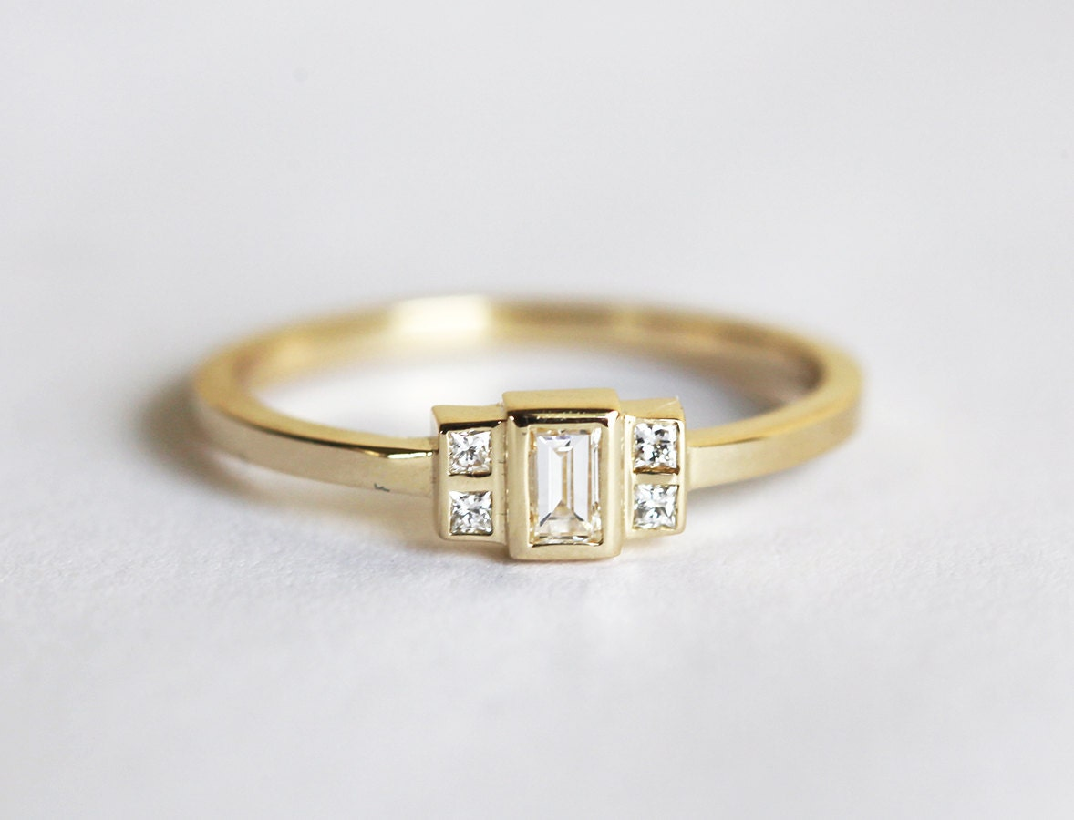 engagement rings ring diamond baguette semi rose and gold round mount