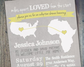 International Adoption Shower Invitation - Africa, China, South Africa, South Korea, Poland- Digital Printable File