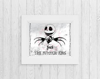 Jack The Pumpkin King - The Nightmare Before Christmas - 5 x 7 - Jack Skellington - Jack and Sally - Tim Burton