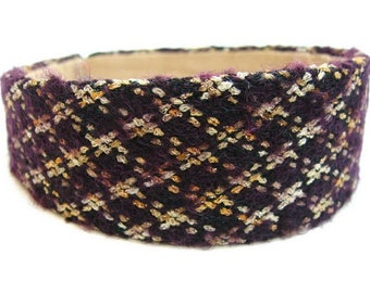 Headband wide wool quilted - purple