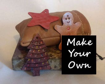 Make your own LEATHER Christmas Decorations. -Available Blank or Pre-stamped