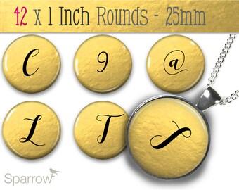 Gold Foil Alphabet & Numbers - One (1x1) Inch Bottle Cap Images - Digital Sheets - Scrapbooking - Buy 2 Get 1 Free - Digital Download