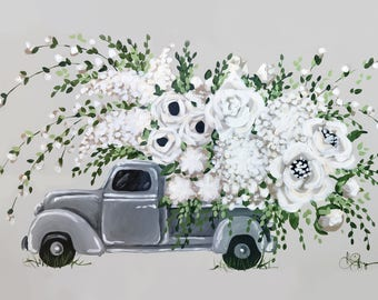 Flower Pickup Truck Print on Canvas